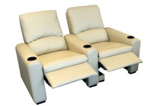 Eros Home Theater Seating 2 Cream Seats Push Back Recliner Chairs