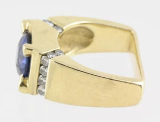 Men's Blue Natural Sapphire Diamond 585 Fine 14kt Yellow Gold Ring Size 8 5
