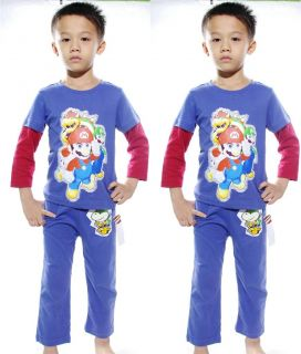 "Baby Suits Toddlers Girls Clothes Kids Boys Sleepwear ""Mario""Pajamas Set 5T 4 5Y"