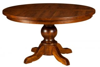 Amish Round Dining Table Chairs Set Solid Wood Pedestal Traditional Rustic