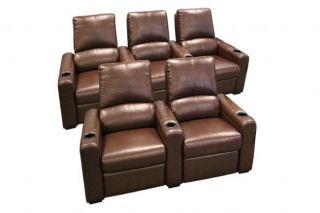 Seatcraft Eros Home Theater Seating 5 Brown Seats Push Back Recliner Chairs