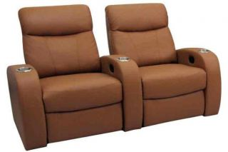 Rialto Home Theater Seating 2 Seats Beechwood Leather Power Chairs