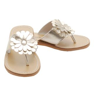 Toddler Girls Size 7 Gold Daisy Flip Flop Spring Sandals Shoes