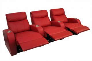 Seatcraft Rialto Home Theater Seating 3 Seats Red Leather Recliners Power Chairs