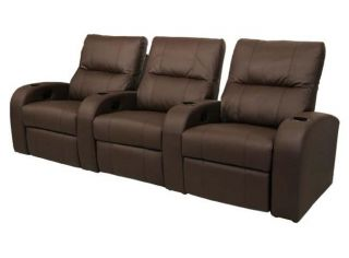 Vader Home Theater Seating 3 Brown Seats Recliner Chair