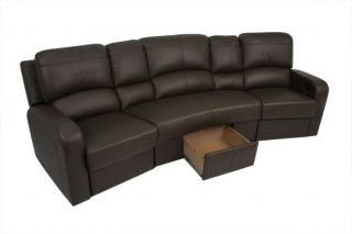 Vesta Home Theater Seating 3 2 Recliners 1 Center Unit Brown Leather Chairs