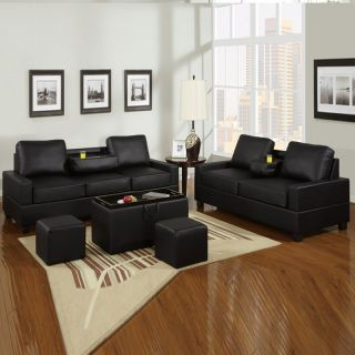 Modern Cozy Black Faux Leather 2 Seat Sofa Loveseat w Console Two Cup Holders