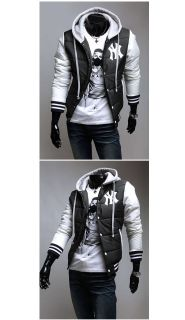 Mens NY New York Hooded Baseball Cardigan Hoodies Jackets Coats Tracksuits