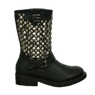 Womens Ladies Sexy Gothic Black Studded Buckle Strap Low Heel Mid Calf Boots