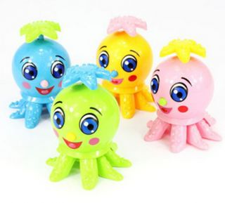 Colorful Wind Up Plastic Cartoon Octopus Clockwork Spring Fun Baby Kid Play Toy