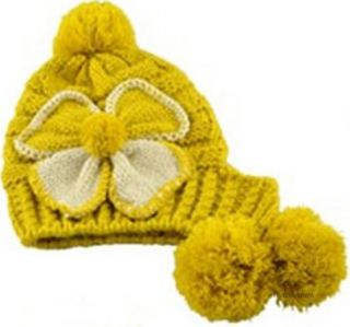 Women Fashion Warm Winter Large Flower Crochet Knit Beanie Ball Wool Ski Hat Cap