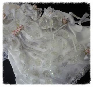 Roses Ribbon Christening Dress Reborn Display Baby Gown Hat Headband Shoes Set
