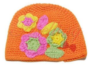 Baby Girl Toddler Cute Handmade Flower Knit Knitting Crochet Beanie Hat Cap Gift