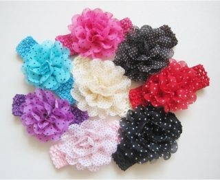 8pcs Girls Baby Toddler Chiffon Headband Polka Dot Hair Band Accessory Headwear