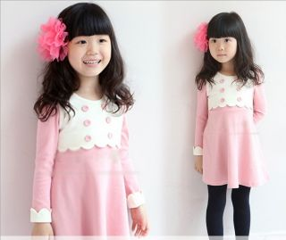 New Preppy Style Toddlers Girls Double Breasted Skirt Party Kids Dress 5 6Years