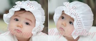 Kids Baby Girl Infant Toddler Summer Cute Polka Dots Lace Bow Hat Cap for 2 12M