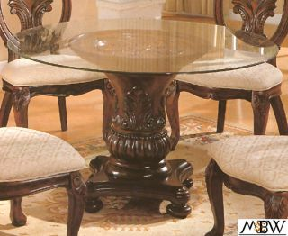 48 inch Cherry Finish Single Pedestal Glass Top Table