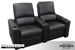 Seatcraft Eros Home Theater Seating 5 Push Back Seats Black Recliner Chairs