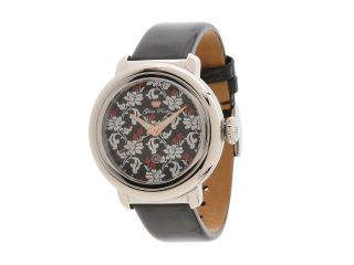 Glam Rock 40mm Stainless Steel Flower Applique Dial Watch with Black Patent Leather Strap   GR77021