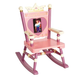 Youth Pink Purple Photo Heart Rocking Chair