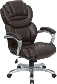 New Brown Leather Executive High Back Home Office Desk Chairs with Padded Arms