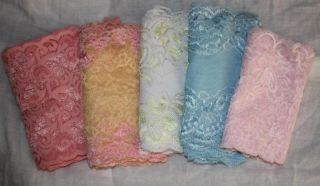 "Lot 10 yds Coral Baby Blue Pink Yellow White Stretch Lace 6"" Free SHIP"