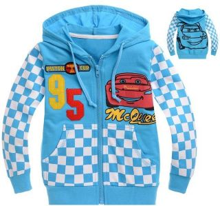 2013 Cool Toddler Kids Boys Girls Cars Lightning McQueen Zipper Hoodies Clothes
