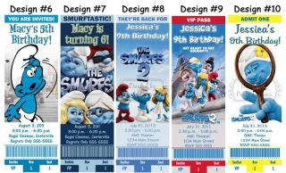 Smurfs Smurfette Birthday Party Ticket Invitations Supplies and Favors