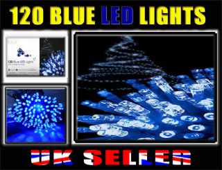 120 Blue LED Lights Christmas New Year Eve Party Tree Indoor Outdoor Light Chase