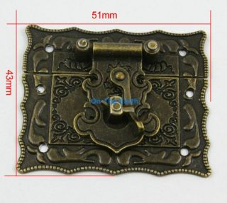 4 Antique Brass Decorative Hasp Jewelry Box Hasp Latch Lock 51x43mm with Screws