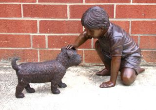 Cast Bronze Boy Petting Dog Statue