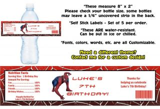 Spiderman Printed Water Bottle Labels Birthday Party Favors Supplies