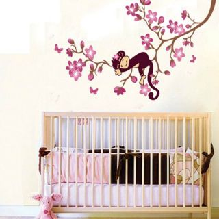 Monkey and Pink Flowers Wall Sticker Decal