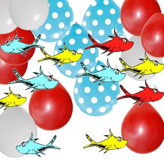 Dr Seuss Party Decorations 36 Fish 12 Red 12 White 6 Blue White Dot Balloons