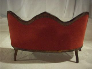 Miniature Doll House Furniture Victorian Red Velvet Couch Settee Ornate