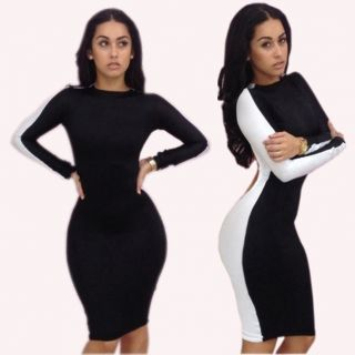 Sexy Womens Fashion Cocktail Clubwear Backless Long Sleeve Bodycon Bandage Dress