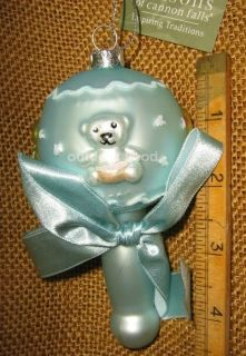 Cannon Falls Blown Glass Blue Baby Boy Rattle with Bears Ducks Ornament New