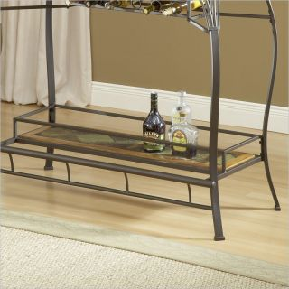 Hillsdale Lakeview Wood Slate Top Table Brown Medium Oak Finish Home Bar