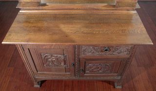 Antique English Solid Oak Art Nouveau Mirrorback Sideboard Buffet Server C1899