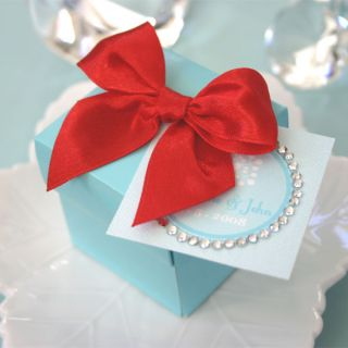 24 Aqua Blue Mini Cube Treat Party Wedding Favor Candy Box Container 2x2x2