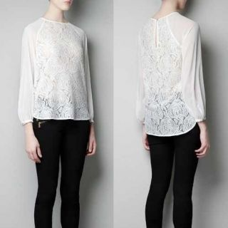 New Womens Fashion Round Neck Lace Chiffon Flower Long Sleeve Shirt White B970
