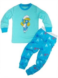 New Lovely The Smurfs Toddlers Girls Clothes Kids Sleepwear Pajamas Set 7T