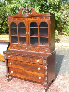 Antique Flame Mahogany Secretary Bookcase by Williams Kimp Furniture Co
