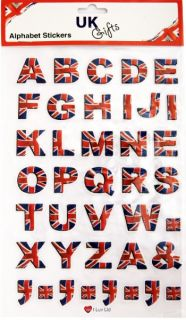Sticker Decals for Car or Home Alphabet Letters in Union Jack British UK Flag
