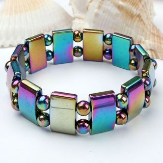"Colorful Magnetic Hematite Stretchy Bracelet Bangle 7""L"