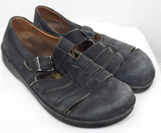 Birkenstock Soft Leather Black Closed Toe Buckle Sandals Shoes Mens 8 Womens 10