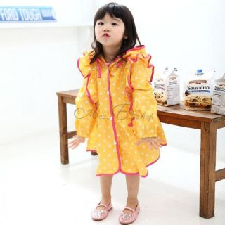 Girls Polka Dot Hooded Raincoat Rain Wear Kid Jacket Waterproof Free Bag 5 6 7 8