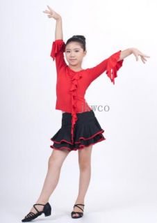 Kid Girl Latin Dance Dress Jive Rumba Child Ballroom Flouncing Dance Costume