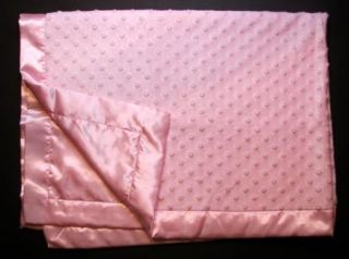 Carter Just One Year Baby Girl Pink Bumpy Satin Blanket