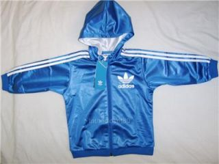 New Adidas Chile 62 Linear Baby Boys Girls Hoody Full Tracksuit Blue White